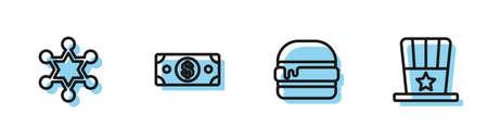 Set line Burger, Hexagram sheriff, Stacks paper money cash and Patriotic American top hat icon. Vector Vectores