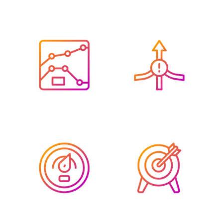 Set line Target, Digital speed meter, Graph, chart, diagram and Arrow. Gradient color icons. Vector Vectores
