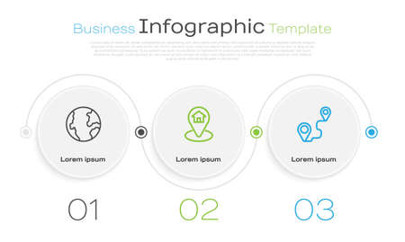 Set line Earth globe, Location with house and Route location. Business infographic template. Vector