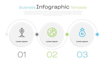 Set line Location with cross hospital, Radar targets monitor and Compass. Business infographic template. Vector Vectores