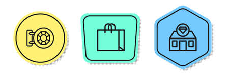 Set line Jewelry store and Shopping bag jewelry. Colored shapes. Vector Vectores