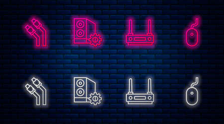 Set line Case of computer, Router and wifi signal, LAN cable network internet and Computer mouse. Glowing neon icon on brick wall. Vector
