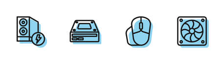 Set line Computer mouse, Case of computer, Optical disc drive and cooler icon. Vector