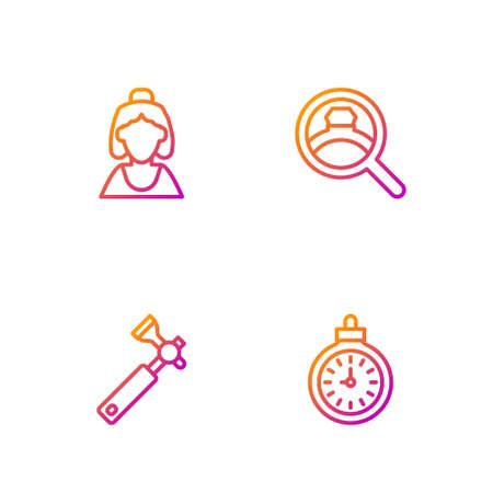 Set line Pocket watch, Jewelers loupe, Consultant of jewelry store and Diamond engagement ring. Gradient color icons. Vector Vectores