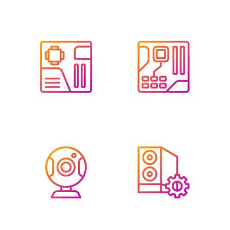 Set line Case of computer, Web camera, Motherboard digital chip. Gradient color icons. Vector