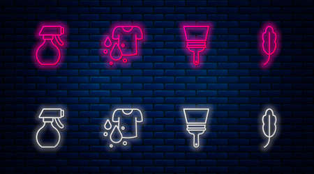 Set line Dirty t-shirt, Rubber cleaner for windows, Water spray bottle and Feather. Glowing neon icon on brick wall. Vector