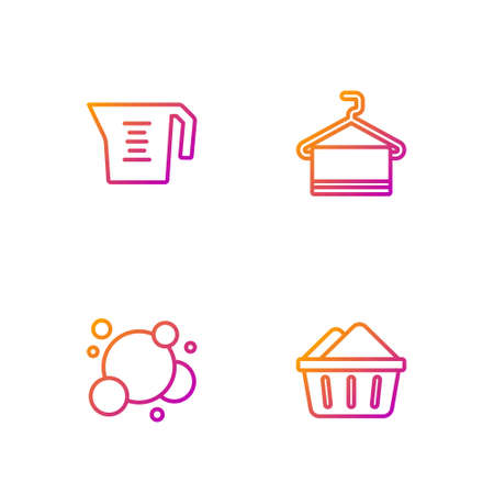 Set line Basin with soap suds, Soap water bubbles, Measuring cup and Towel on hanger. Gradient color icons. Vector
