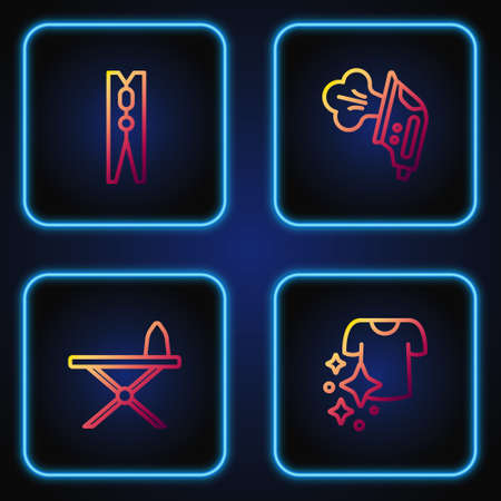 Set line Drying clothes, Iron and ironing board, Clothes pin and Electric. Gradient color icons. Vector