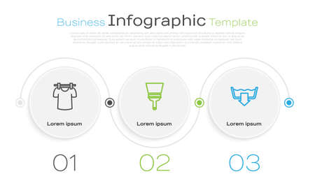 Set line Drying clothes, Rubber cleaner for windows and Washing modes. Business infographic template. Vector Vectores