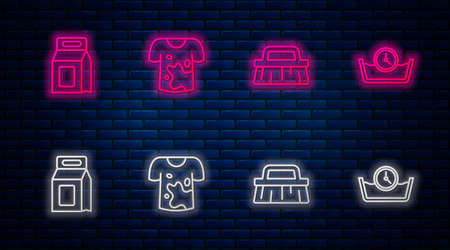 Set line Dirty t-shirt, Brush for cleaning, Laundry detergent and Time wash. Glowing neon icon on brick wall. Vector Vectores