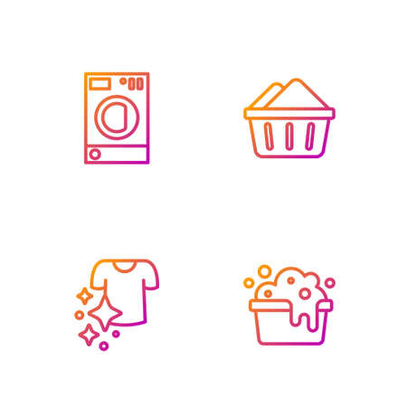 Set line Basin with soap suds, Drying clothes, Washer. Gradient color icons. Vector Vectores
