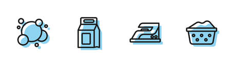 Set line Electric iron, Soap water bubbles, Laundry detergent and Basin with soap suds icon. Vector Vectores
