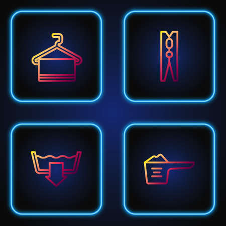 Set line Washing powder, modes, Towel on hanger and Clothes pin. Gradient color icons. Vector