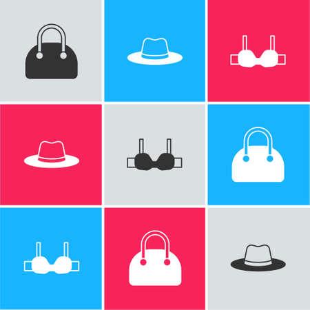 Set Handbag, Man hat and Bra icon. Vector