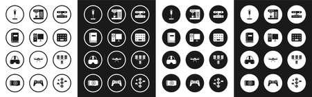 Set Motion sensor, Computer monitor, User manual, Syringe, Pills blister pack, Coffee machine, Server, Data, Web Hosting and Virtual reality glasses icon. Vector