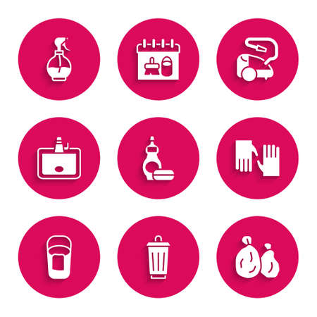 Set Dishwashing liquid bottle, Trash can, Garbage bag, Rubber gloves, Bucket with rag, Washbasin, Vacuum cleaner and Water spray icon. Vector