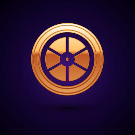 Gold Bicycle wheel icon isolated on black background. Bike race. Extreme sport. Sport equipment. Vector Vetores