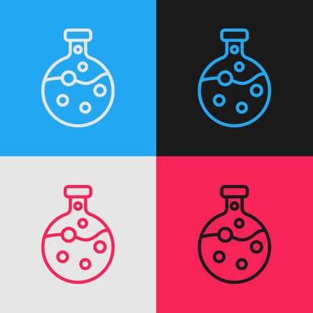 Pop art line Test tube and flask chemical laboratory test icon isolated on color background. Laboratory glassware sign. Vector