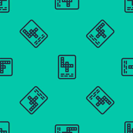Blue line Crossword icon isolated seamless pattern on green background. Vector