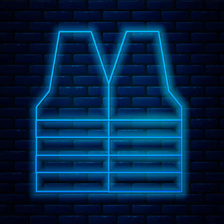 Glowing neon line Safety vest icon isolated on brick wall background. Vector