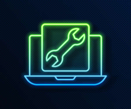 Glowing neon line Laptop with wrench icon isolated on blue background. Adjusting, service, setting, maintenance, repair, fixing. Vector