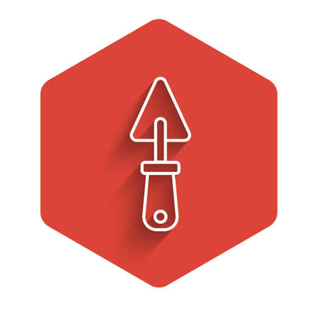 White line Trowel icon isolated with long shadow. Red hexagon button. Vector
