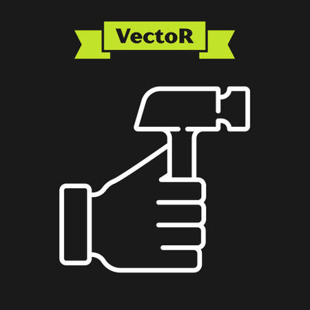 White line Hammer icon isolated on black background. Tool for repair. Vector Stock Illustratie