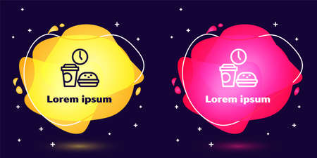 Set line Fast food time icon isolated on blue background. Abstract banner with liquid shapes. Vector