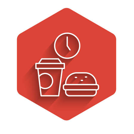 White line Fast food time icon isolated with long shadow. Red hexagon button. Vector