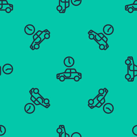 Blue line Time to travel icon isolated seamless pattern on green background. Vector