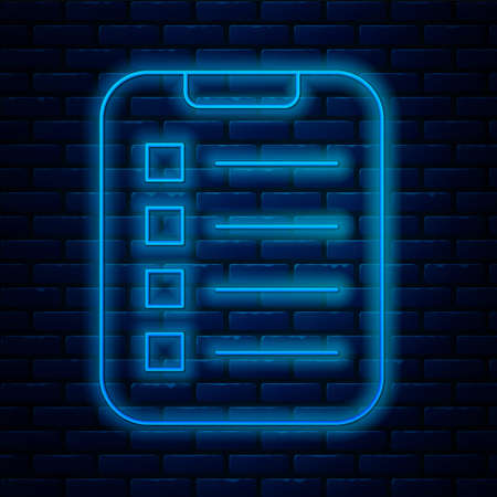 Glowing neon line To do list or planning icon isolated on brick wall background. Vector