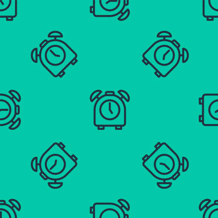 Blue line Alarm clock icon isolated seamless pattern on green background. Wake up, get up concept. Time sign. Vector Stock Illustratie