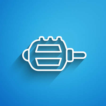 White line Bicycle pedal icon isolated on blue background. Long shadow. Vector Stock Illustratie