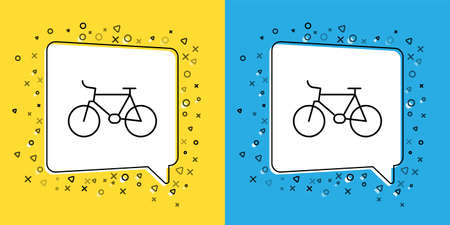 Set line Bicycle icon isolated on yellow and blue background. Bike race. Extreme sport. Sport equipment. Vector