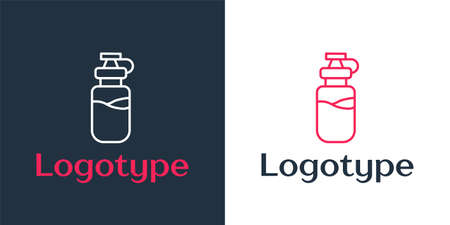 Logotype line Sport bottle with water icon isolated on white background. Logo design template element. Vector