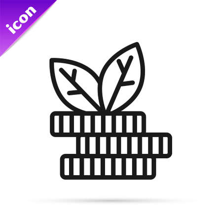 Black line Dollar plant icon isolated on white background. Business investment growth concept. Money savings and investment. Vector Stock Illustratie