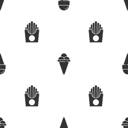 Set Ice cream in waffle cone, and Potatoes french fries box on seamless pattern. Vector Stock Illustratie