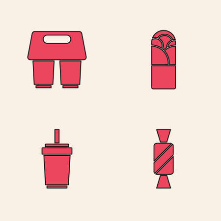 Set Candy, Coffee cup to go, Doner kebab and Paper glass with straw icon. Vector