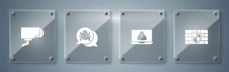 Set Shield with brick wall, Laptop exclamation mark, System bug and Security camera. Square glass panels. Vector