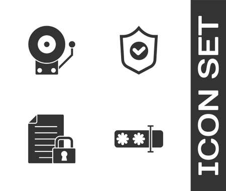 Set Password protection, Ringing alarm bell, Document and lock and Shield with check mark icon. Vector