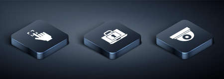 Set Isometric Fingerprint, Security camera and Laptop and lock icon. Vector