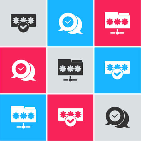 Set Password protection, Check mark in speech bubble and Folder with password icon. Vector Stock Illustratie