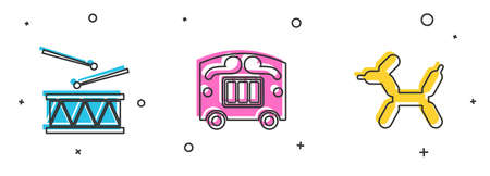Set Drum with drum sticks, Circus wagon and Balloon dog icon. Vector