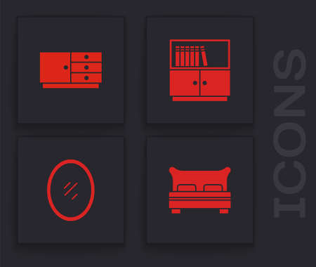 Set Big bed, Chest of drawers, Library bookshelf and Mirror icon. Vector