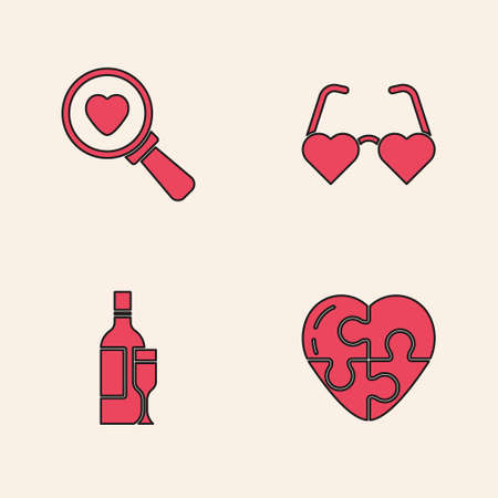 Set Heart, Search heart and love, shaped glasses and Champagne bottle icon. Vector