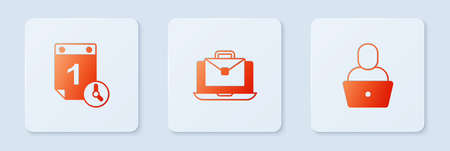 Set Online working, Time management and Freelancer. White square button. Vector