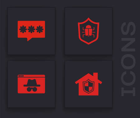 Set House under protection, Password, System bug and Browser incognito window icon. Vector