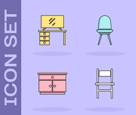 Set Chair, TV table stand, Furniture nightstand and icon. Vector