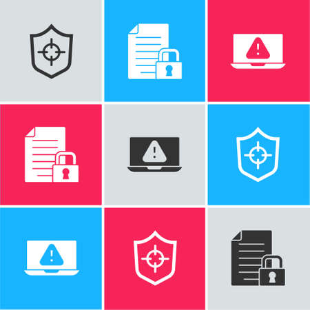 Set Shield, Document and lock and Laptop with exclamation mark icon. Vector