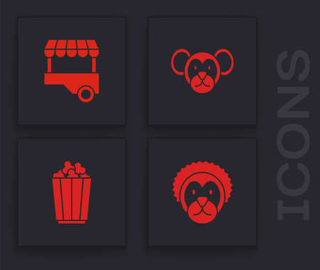 Set Wild lion, Fast street food cart, Monkey and Popcorn in box icon. Vector